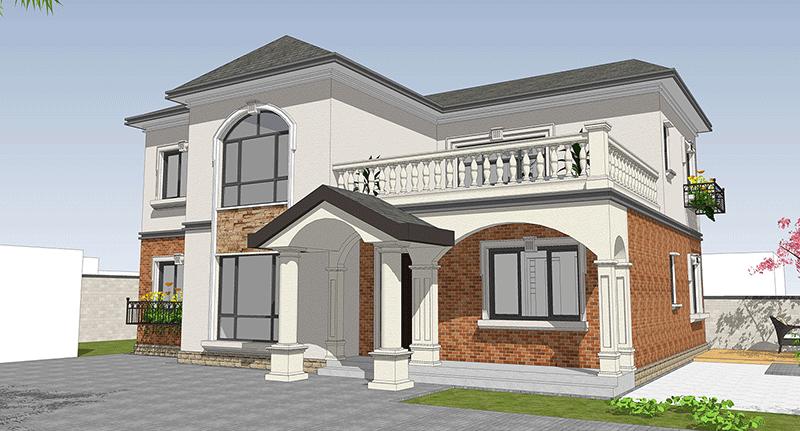 入户位置的雨棚设计为人字顶,与建筑整体的坡屋顶相呼应,实用又美观.图片